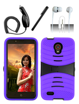 Alcatel One Touch Conquest Purple Hybrid Heavy Duty Dual Layer Case w/ Kickstand - $11.99