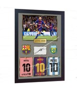 Lionel Messi barcelona autograph signed Framed Canvas  - $21.90