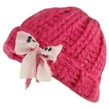 Ribbon Bow Chunky Crafty Winter Hat (One Size, Lipstick Combo) - €14,59 EUR