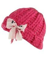Ribbon Bow Chunky Crafty Winter Hat (One Size, Lipstick Combo) - $16.10