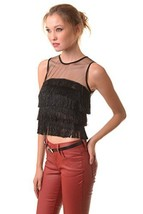 ICONOFLASH Women's Gatsby Black Fringe Mesh Crop Top, Size Small - $37.61