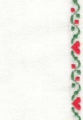 "27ct Fanciful Hearts Antique White/Green Red banding 4.5""w x 36"" 100% linen"