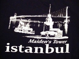 Maiden's Tower Istanbul Turkey Vacation Souvenir Black T-Shirt M - $14.84