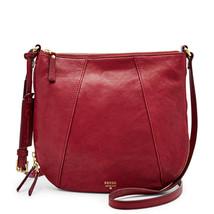 Fossil Gwen Maroon Leather Zipper Closure Crossbody/Shoulder Bag - $215.99
