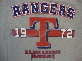 MLB Texas Rangers Major League Baseball Fan Distressed Classic Gray T Shirt M - $14.84