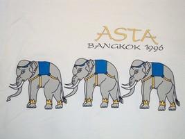 Asta Bangkok 1996 Elephant Train Tourist White T Shirt XL - $16.82
