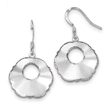 Primary image for Lex & Lu Sterling Silver Polished Satin-finish Fancy D/C Shepherd Hook Earrings