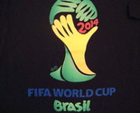 FIFA World Cup 2014 Brasil Soccer Game Sports Vacation Black Adidas T Shirt L
