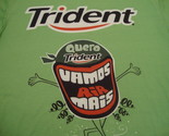 """""""Trident"""" Chewing Gum Spanish 100% Polyester Lime Green Graphic Print T Shirt L"""