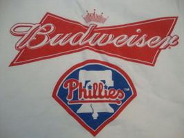 MLB Philadelphia Phillies Baseball Budweiser Beer Alcohol Sponsor T Shirt XL - $14.84