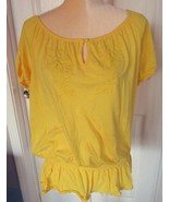 Lane Bryant Fun & Flirty Yellow  Embroidered Beaded Top  Size 14-16 - $6.99