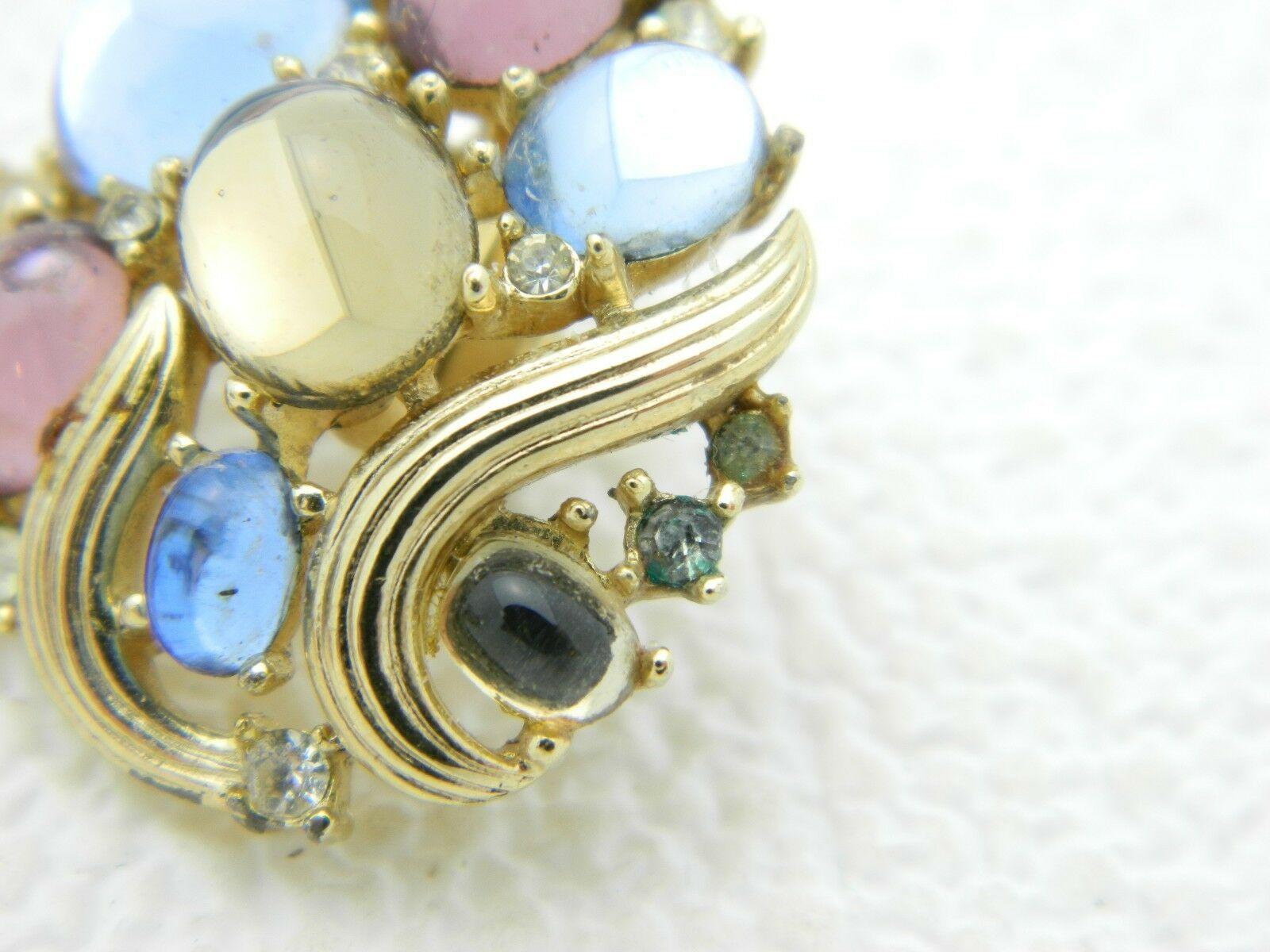 Vintage CROWN TRIFARI Jewels of Fantasy Pastel Cabochons Rhinestone Earrings