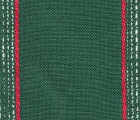"Primary image for 27ct Lacy Green/Red banding 3.9""w x 18"" (1yd) 100% linen Mill Hill"