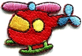 Helicopter chopper copter kids fun sew sewing applique iron-on patch new... - $2.49