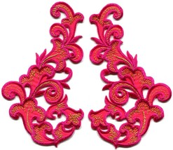Hot pink fringe retro boho granny chic applique iron-on patches pair new... - $3.79