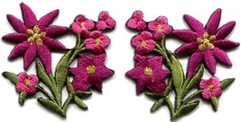 Hot pink lilies pair flowers floral bouquet boho applique iron-on patch ... - $3.19