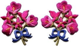 Hot pink lilies pair flowers floral bouquet boho applique iron-on patch ... - $2.96