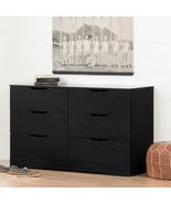 Dresser Storage Cabinet 6 Drawer Black Space Saver Bedroom Durable Furni... - $195.99