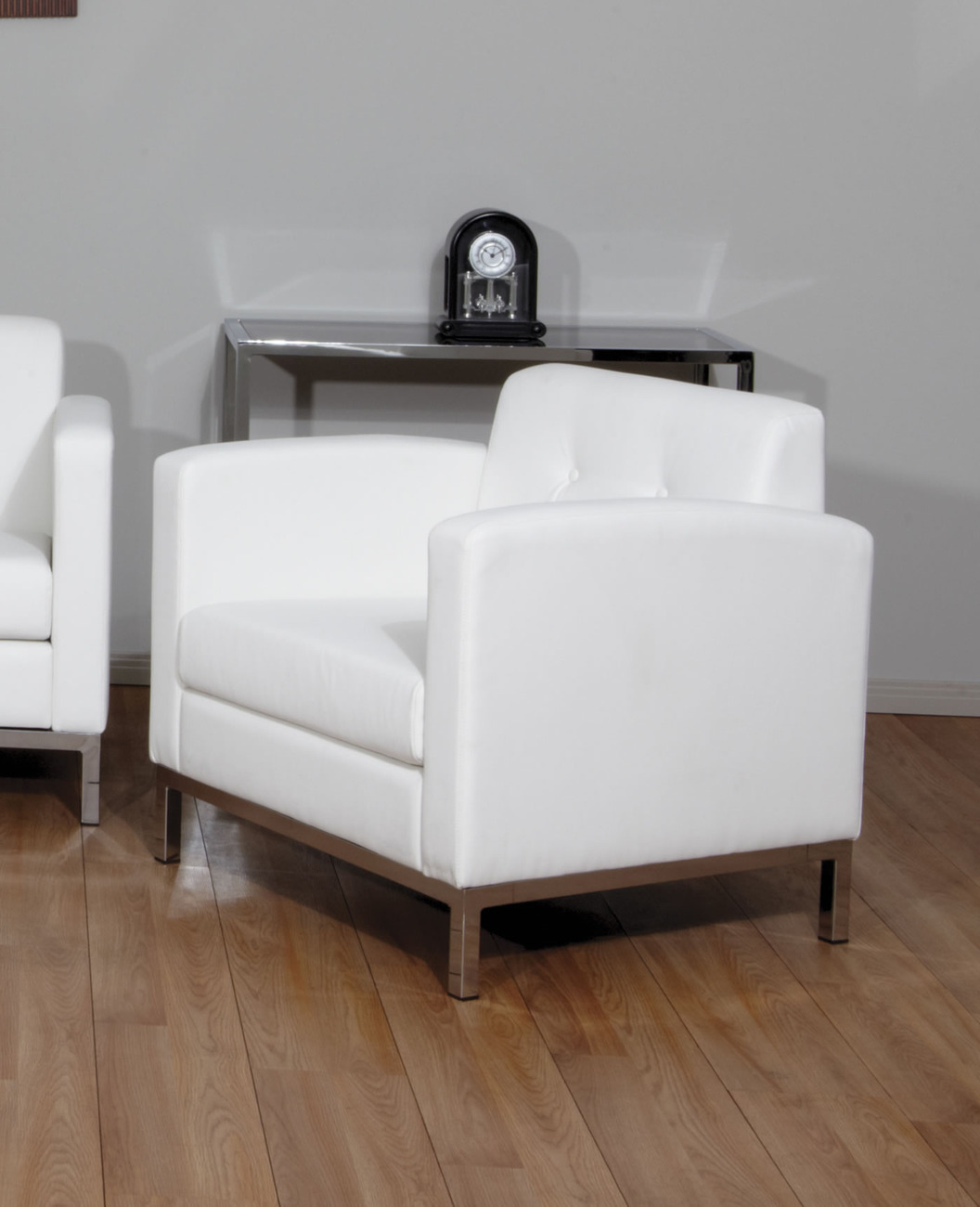 Primary image for Wall Street Avenue Six White Faux Leather Arm Chair w/Chrome Finish Legs WST51A