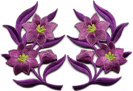 Lavender lilies pair flowers floral bouquet boho applique iron-on patche... - $3.79