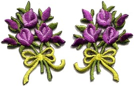 Lavender roses pair flowers floral bouquet boho applique iron-on patch S... - $3.29