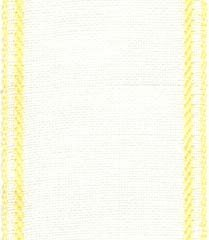 "Primary image for 27ct Sara Antique White/Yellow banding 2.7""w x 36"" (1yd) 100% linen Mill Hill"