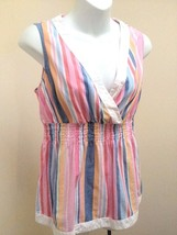 Tommy Hilfiger M Top Multi Colored Striped Smocked Empire Waist Sleeveless - $16.64