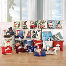 45X45Cm Pillow Case Merry Christmas Decorations For Home Cartoon Elk Linen - $3.48+