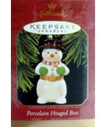 Hallmark SNOWMAN PORCELAIN HINGED BOX Ornament 1997  - $10.95
