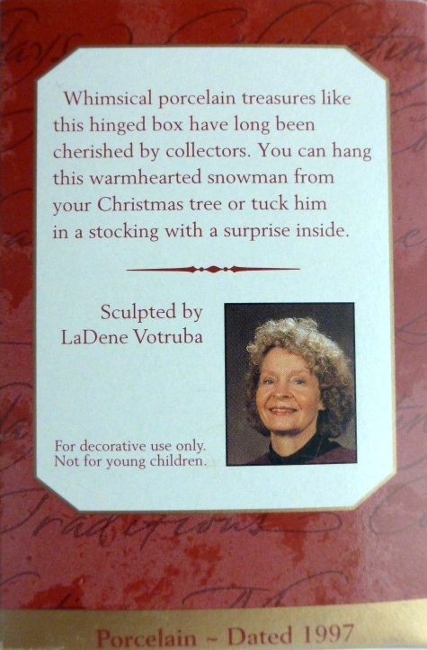 Hallmark SNOWMAN PORCELAIN HINGED BOX Ornament 1997