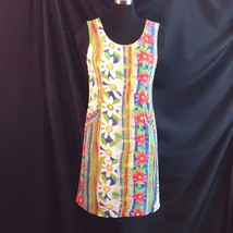 Jams World Rainbow Daisy Flower Power Sheath Dress Snakeskin Vertical Stripe 6 - $29.21