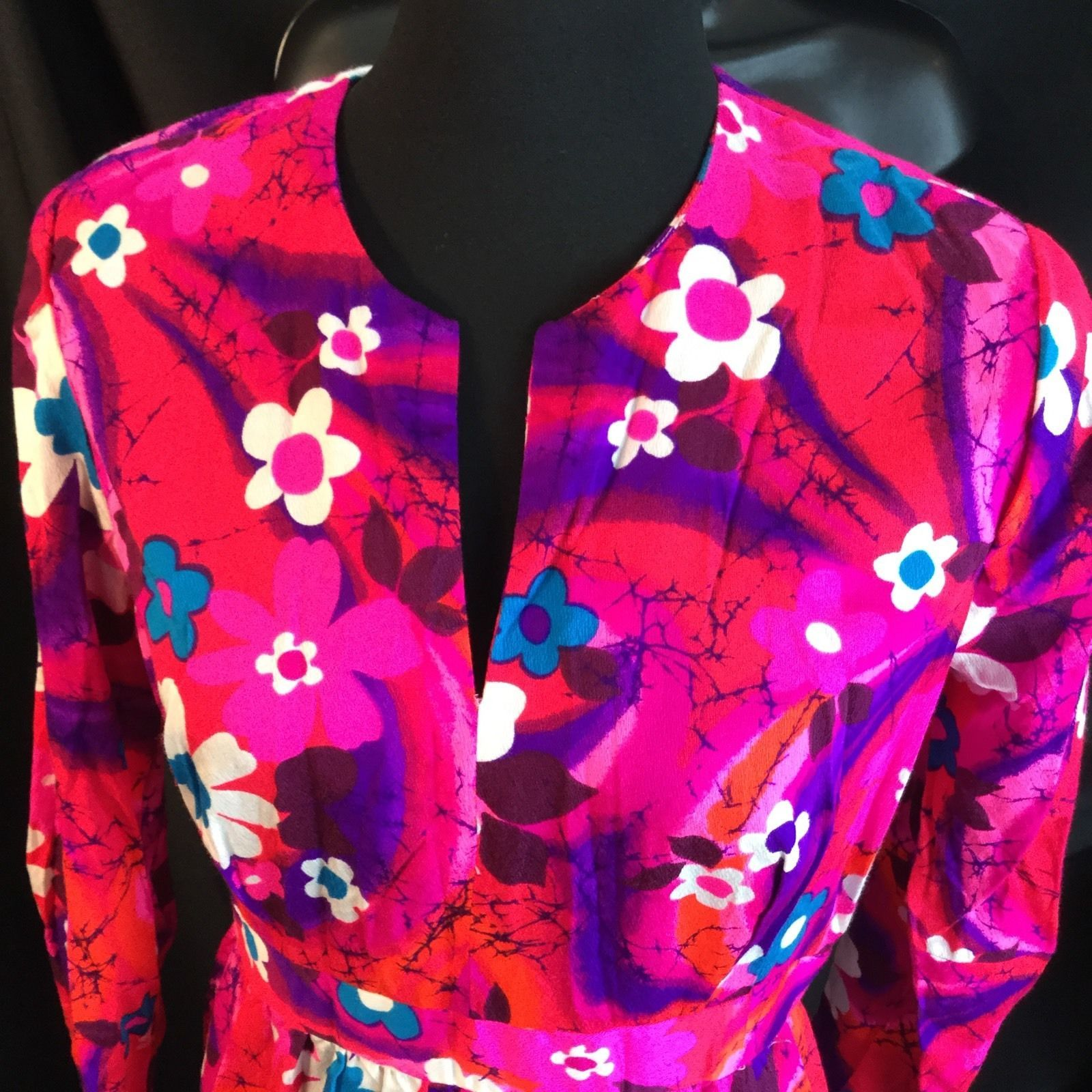 Flower Power Groovy Rayon Barkcloth Dress Long Sleeve Boho Hostess M Homesewn