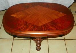 Oval Burl Walnut and Mahogany Inlaid Top Coffee Table - $499.00