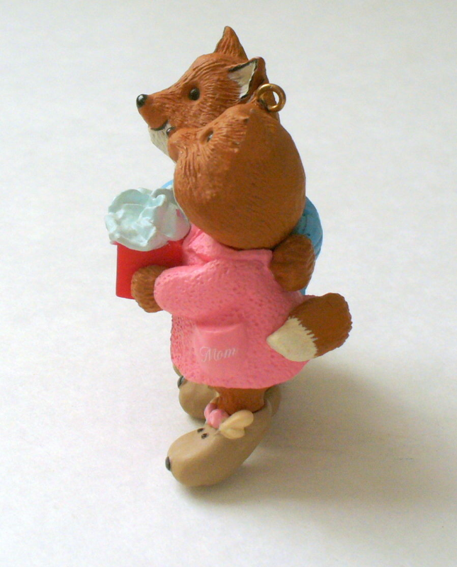 Hallmark MOM AND DAD Foxes His 'n Hers Slippers Ornament - 1993