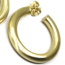 925 STERLING SILVER CIRCLE HOOPS BIG YELLOW EARRINGS, 4 cm x 6 mm SATIN FINISH image 3