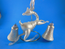 Beautiful Reindeer acrylic and 2 glass bells frost & silver christmas or... - $16.82
