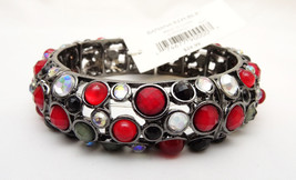 New Stretch Bracelet with Red Black & Clear Rhinetones By Banana Republi... - $6.79