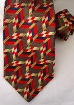 Ermenegildo Zegna SIlk Tie Red Navy Blue Gold Geometric Pattern Made Italy - $29.99