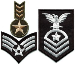 Lot of 3 army military insignia rank biker retr... - $4.94