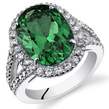 Women's Sterling Silver Emerald Oval Halo Ring with Split Band - $162.40 CAD