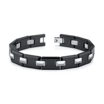 "Men""s Tungsten Carbide and Black Ceramic Link Bracelet - $79.99"