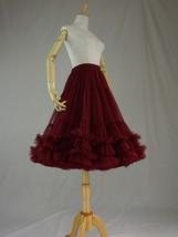 Burgundy MIDI Tulle Skirt Women High Waist Tulle Midi Skirt Ballet Dance Skirt image 5