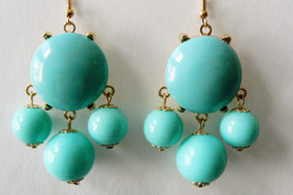 Blue Bubble Chandelier round Drop Charms design Fashion Earrings - $24.75