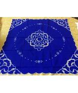 "Dark Blue Cotton cut work Decor Accent Tea Table Cloth  33""x33"" Germany - $38.61"