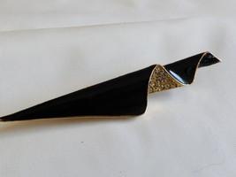 VTG RETRO ABSTRACT PIN  BROOCH GOLD TONE BLACK ENAMEL CRYSTAL - $21.04