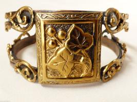 Fashion Brass & Copper metal gold tone Grape design intricate  cuff  bracelet - $31.19