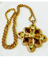 """NAPIER GOLD TONE ROPE STYLE CHAIN CRYSTAL PENDANT NECKLACE 25""""L - $57.92"""