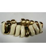 Vintage Monet Gold Tone Metal Enamel Signed link Bracelet - $70.39