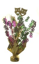 "2 Mardi Gras balloon weights 15"" tall metallic gold green and purple - $9.85"