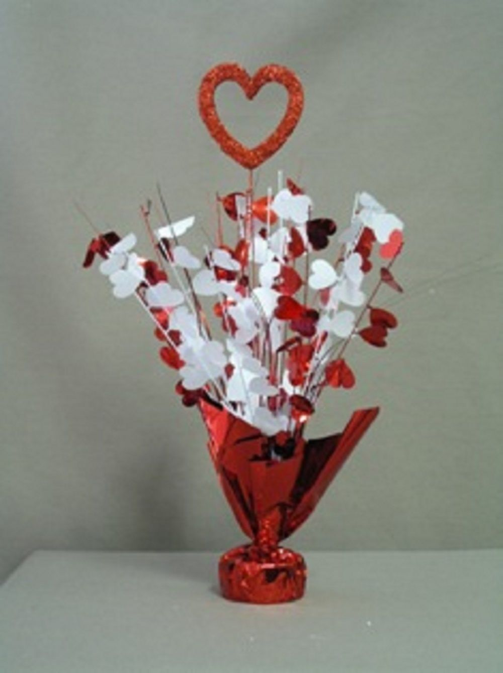 "2 Heart Centerpiece balloon weights 17"" tall metallic red and white"